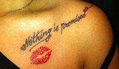 Man Side Neck Lipstick Lip Prints Tattoo
