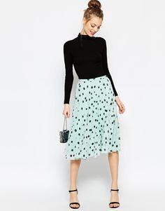 ASOS Pleated Midi Skirt in Polka Dot