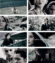 Sansa + Arya Stark: You may be as different as the sun and the moon, but the same blood flows through both your hearts. You need her, as she needs you. #got #asoiaf