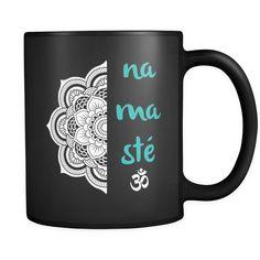 Namaste Om w/ Lotus Mandala Yoga Inspired * Black 11oz. Coffee Mug