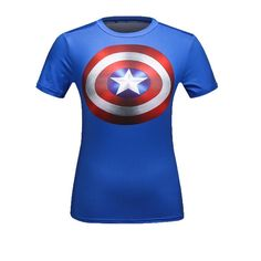 High Quality Women T-shirt Bodys Armour Marvel costume Captain America/superman/spiderman T Shirt Girl Fitness Tights 3d T Shirts, Casual T Shirts, Captain America, Superman And Spiderman, Batman Shirt, Compression T Shirt, Marvel Women, Yoga Tops, Workout Shirts