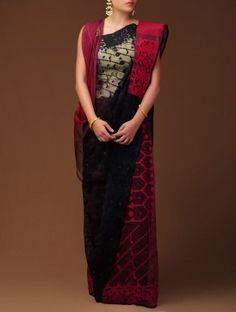 Red-Black Dhakai Jamdani Cotton Saree Bangladeshi Saree, Bengali Saree, Dhakai Jamdani Saree, Modest Fashion Hijab, Cotton Sarees Online, Traditional Sarees, Beautiful Saree, Indian Wear, Red Black