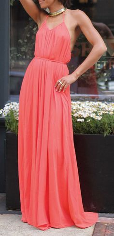 Coral Open-Back Halter Maxi Dress (she needs a bra though...)