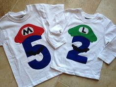Long sleeve Luigi or Mario Super Mario Brothers Birthday shirt Super Mario Birthday, Mario Birthday Party, Super Mario Party, Birthday Fun, Birthday Party Themes, Birthday Shirts, Birthday Ideas, Super Mario Brothers, Super Mario Bros