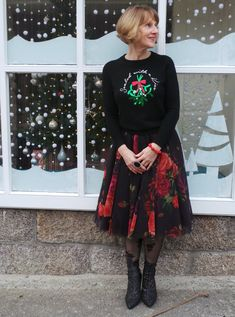 5 Over 50 Challenge: Christmas Jumpers Style Challenge, Fashion Challenge, Ugly Christmas Jumpers, Ted Baker Skirts, Gold Pleated Skirt, Red Jumper, Funky Outfits, Fashion Over 50, Festival Outfits