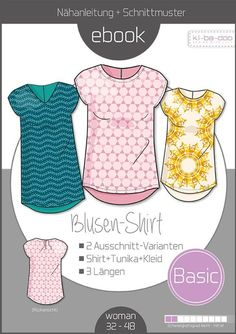 Over Free Sewing Patterns & Sewing Instructions - Sewun .- Sewing pattern basic blouse shirt women from ki-ba-doo Sewing Patterns Free, Free Sewing, Free Knitting, Hand Sewing, Free Pattern, Sewing Hacks, Sewing Tutorials, Sewing Tips, Poncho Crochet