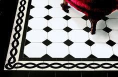 Victorian Floor Tiles - the York pattern in black and white with a Plymouth border Plymouth corner