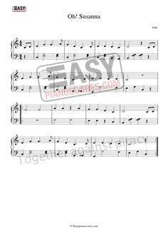 American, internationally known folk song 'Oh! Susanna' as easy piano arrangement. The high-resolution score is available at easypianoscores.com American Folk Songs, Stephen Foster, Easy Piano Sheet Music, Kids Piano, The Fosters, Traditional