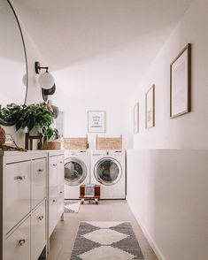 A simple interior design hallway that leads to a cute corner laundry room area by @peonyandhoney! Click the image to try our free home design app. Keywords: laundry room ideas, simplistic home decor, relaxing home decor, open shelving, white interior design, wall decor, cute house ideas, home decor accessories, home inspiration decoration, creative ideas for the home, home decoration creative, home decor storage ideas, house storage ideas, storage design, small room design, clean interior… Small Room Design, Laundry Room Design, White Interior Design, Simple Interior, Storage Design, Storage Ideas, Laundry Room Inspiration, Vintage Laundry, Design Your Dream House