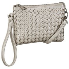 maurices Woven Crossbody Bag Or Wristlet In Silver ($20) ❤ liked on Polyvore featuring bags, handbags, grey, woven handbag, silver wristlet purse, gray purse, woven purse and crossbody wristlet