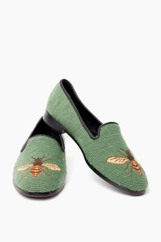 Sage Bee Needlepoint Loafers in Sage by By Paige - Tnuck