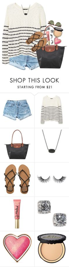 #postyourdrafts by thefashionbyem ❤ liked on Polyvore featuring Levis, MANGO, Longchamp, Kendra Scott, Billabong, Too Faced Cosmetics, Kate Spade and Ray-Ban