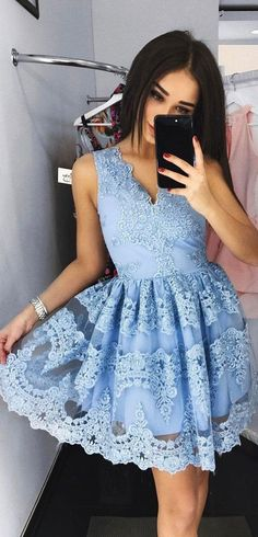 A-line homecoming dresses, light blue homecoming dresses, lace applique homecoming dresses, short prom dresses, party dresses, formal dresses#SIMIBridal #homecomingdresses