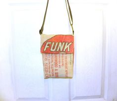 Vintage Funk Bros seed bag upcycled small crossbody by LoriesBags