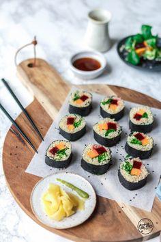 Süßkartoffel-Quinoa-Sushi mit Rote Bete und Feldsalat