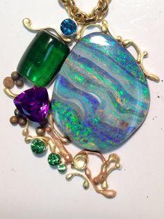 Boulder opal pendant in its beginning phase of design. Designed by jennifer kalled; boulder opal from Bill Kasso, Eagle Creek Opals.