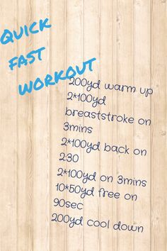 Quick 30min swim workout