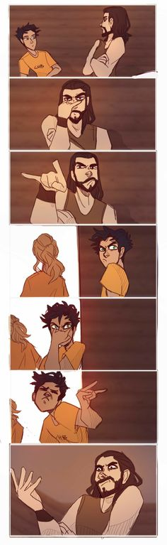 Avatar - Percy Jackson cross over (Korra and Police Chief Lin Beifong) Chiron, Percy, and Annabeth Percy Jackson Fan Art, Percy Jackson Fandom, Percy Jackson Characters, Percy Jackson Memes, Percy Jackson Books, Percy Jackson Comics, Hades Percy Jackson, Percabeth, Solangelo