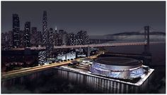 This artist's rendition of the new Warriors stadium was an early concept before the project was moved into Mission Bay/China Basin.