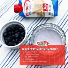 Our delicious Blueberry Pie smoothie is a fun and healthy twist on a classic summer recipe. Ingredients: 1 Premier Protein Vanilla Shake 1 cup of blueberries 1 tsp. of cinnamon ice cubes (Low Carb Pie Protein) Protein Smoothie Recipes, Protein Snacks, Smoothie Drinks, Healthy Smoothies, Healthy Drinks, Healthy Food, Healthy Eating, Bariatric Eating, Bariatric Recipes
