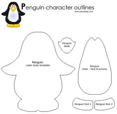 Free Felt Craft Patterns | Penguin pattern - tactile reources for preschool play