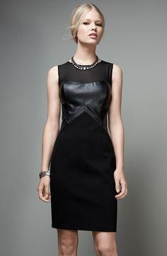 Little leather dress. Aidan by Aidan Mattox Faux Leather Inset Sheath Dress