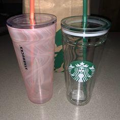 Starbucks Glass Tumbler Cup Set Of 2 on Mercari Starbucks Coffee Cups, Starbucks Tumbler Cup, Custom Starbucks Cup, Starbucks Drinks, Rose Gold Water Bottle, Water Bottles, Copo Starbucks, Starbucks Birthday, Travel Coffee Cup