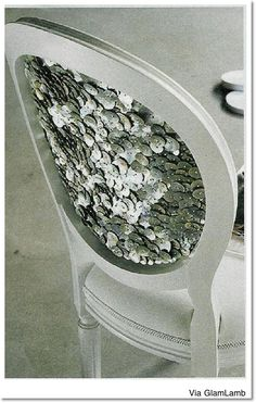 I want to try this!... Glue rhinestones, sequins, or buttons on the back of an old chair