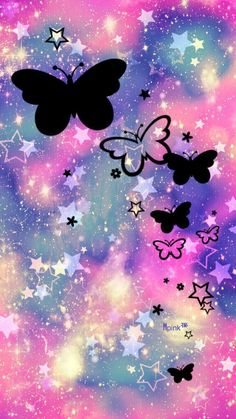 Butterfly Garden Galaxy iPhone/Android Wallpaper I Created For The App Top Chart Unicornios Wallpaper, Butterfly Wallpaper, Cute Wallpaper Backgrounds, Pretty Wallpapers, Butterfly Art, Galaxy Wallpaper, Cellphone Wallpaper, Beautiful Nature Wallpaper, Galaxy Art