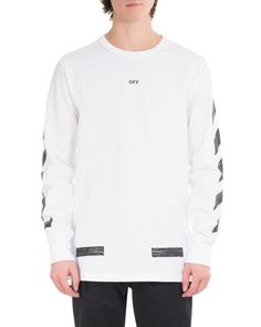 OFF-WHITE Brushed Diagonal Arrows Long-Sleeve Cotton T-Shirt, White/Black. #off-white #cloth #