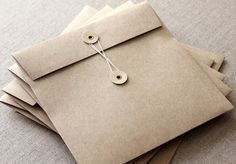 5 String and Button Envelopes - 160mm square brown kraft string & tie envelope for wedding invitations and packaging