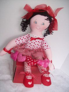 Loveable curly-haired, Lil Sweetheart. Pattern includes unique curly ribbon hair.ed doll-- . Dressed in pink and red hearts for Valentines Day,, she will stear your heart away.. Washable and dryable. This Easy Soft Cloth Doll PDF Pattern includes dresses, panties, headband, hair bow and doll.  **This is a pattern ONLY and not a completed doll**  Very fast and easy to make.. This is a PDF that can be downloaded immediately from PeekabooPorch on Etsy upon receipt of payment.