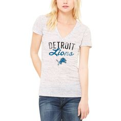 Detroit Lions Let Loose by RNL Women's Endless V-Neck T-Shirt - White - $34.99