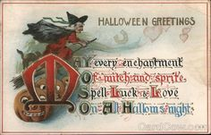 Postcard: Halloween Greetings - Witch and pumpkins Vintage Halloween Cards, Halloween Goodies, Halloween Items, Halloween Pictures, Halloween Greetings, Happy Halloween, Vintage Greeting Cards, Vintage Postcards, Pumpkin Cards