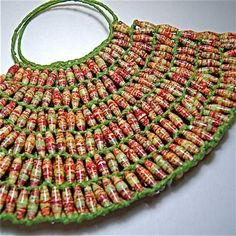 Paper bead bag, very interesting and would take a long time to make it. beautiful