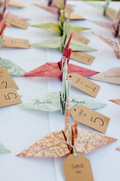 cute are these origami swans as escort cards!How cute are these origami swans as escort cards! Wedding Place Cards, Wedding Table, Wedding Favors, Wedding Decorations, Wedding Ideas, Trendy Wedding, Table Decorations, Paper Crane Wedding, Origami Paper Crane