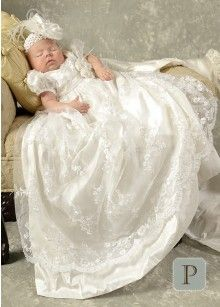 Preslee Silk Christening Gowns for Girls