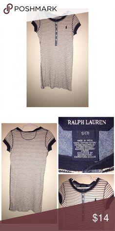 Ralph Lauren Striped Dress Pre•loved Ralph Lauren Striped Dress • Size 7 • Navy/Creme • Excellent used condition Ralph Lauren Dresses