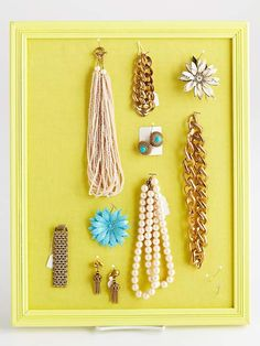 Turn an inexpensive bulletin board into a customized jewelry display. More about this project: http://www.bhg.com/crafts/easy/1-hour-projects/creative-bulletin-boards/?socsrc=bhgpin082912BulletinBoard#page=12