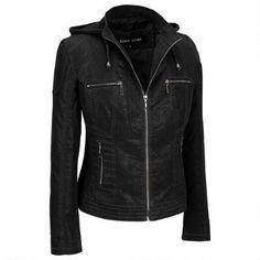 Black Rivet Faux-Suede Jacket w/Knit Hood