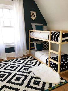 42 Kids Rooms: Shared Bedroom Ideas - Ikea DIY - The best IKEA hacks all in one place Ikea Bedroom, Girls Bedroom, Bedroom Furniture, Bedroom Decor, Bedroom Black, Black Bedding, Bedroom Colors, Baby Bedroom, Bedroom Themes