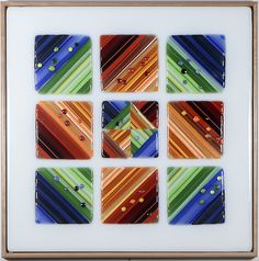 Nine Square - Dusk by Mary Johannessen: Art Glass Wall Sculpture available at www.artfulhome.com