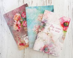 Cute notebooks, handmade jotter, stationery set, floral pocket notebook, travel diary, flowers notepad, watercolor journal, mini notebooks