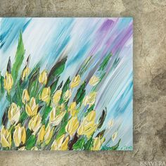 Yellow tulips Painting floral wall art FREE SHIPPING by KsaveraART, €47.00 #painting #art #yellow #tulips #flowers #decor #impasto