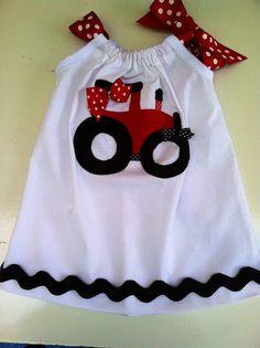 Baby Girls, Toddler Girls Red Tractor sun dress/ pillowcase dress.