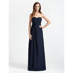 Floor-length Chiffon Bridesmaid Dress - Dark Navy Plus Sizes / Petite Sheath/Column Strapless / Sweetheart – USD $ 79.99
