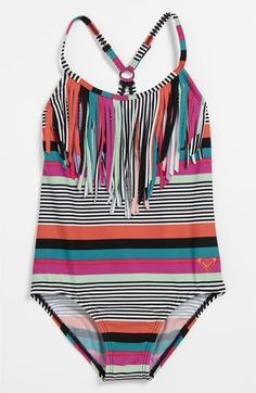 Roxy 'Wave' Fringed Swimsuit (Little Girls) available at #Nordstrom