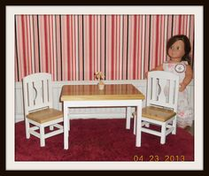 American Girl sized Table and 2 Chairs ( doll for display only )