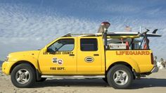 A Los Angeles County Fire Department Lifeguard truck on Venice Beach in California.