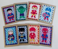Superhero Tags Mini Cards on Craftsuprint designed by Aisne Smith - made by Diane Vermeer - Printed onto Gloss Photo Paper. After cutting out all the elements, I used DST to attach them to small cards. I then used different coloured stick on edging on the cards. A great design. makes into great Gift cards or party invites. - Now available for download!